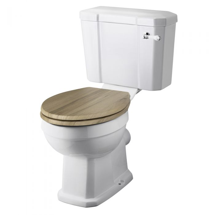 Milano Carlton - White Traditional Toilet with Cistern and Wooden Seat