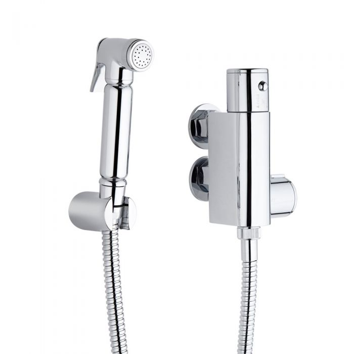 Milano - Modern Thermostatic Douche Hose with Wall Bracket - Chrome