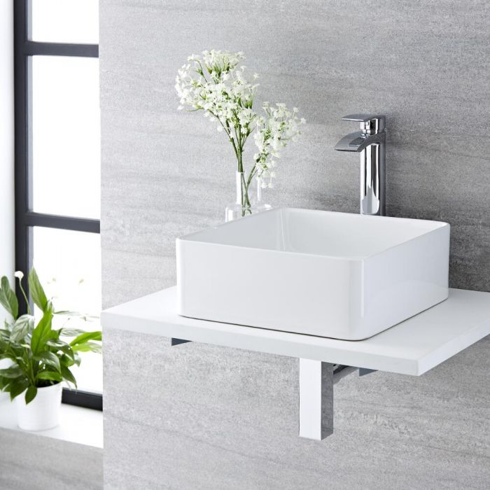 Milano Rivington - White Modern Square Countertop Basin with Deck Mounted High Rise Mixer Tap - 360mm x 360mm (No Tap-Holes)