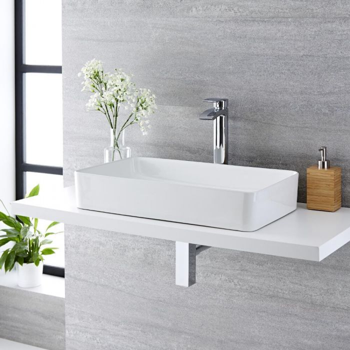 Milano Rivington - White Modern Rectangular Countertop Basin and Deck Mounted High Rise Mixer Tap - 610mm x 350mm