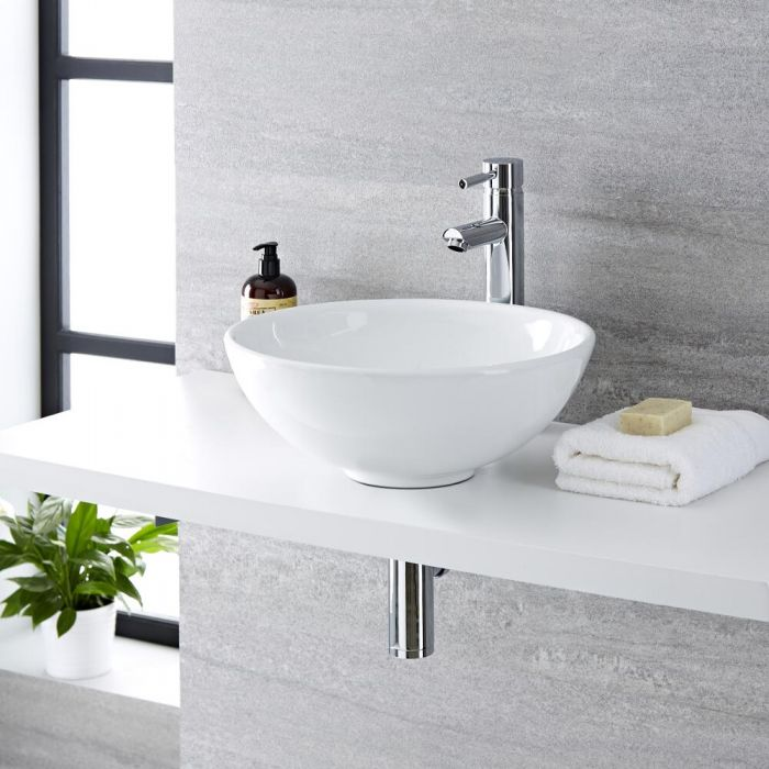 Milano Irwell - White Modern Round Countertop Basin with Deck Mounted High Rise Mixer Tap - 400mm x 400mm
