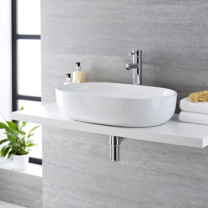 Milano Overton - White Modern Round Countertop Basin with Deck Mounted High Rise Mixer Tap - 590mm x 410mm