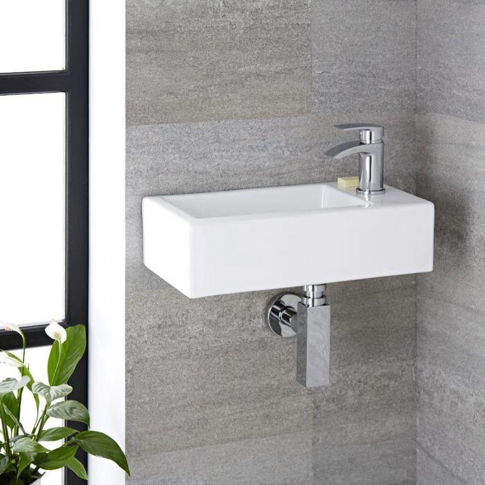 Milano Elswick - White Modern Rectangular Wall Hung Basin - 450mm x 250mm (1 Tap-Hole)
