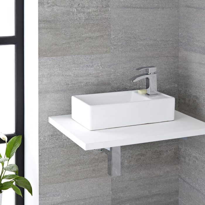 Milano Dalton - White Modern Rectangular Countertop Basin with Deck Mounted Mini Mixer Tap - 410mm x 220mm
