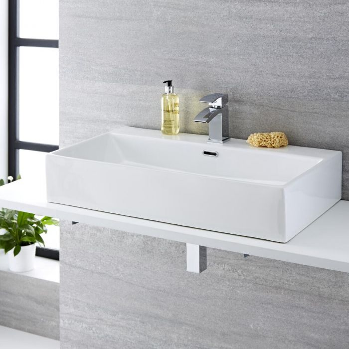 Milano Elswick - White Modern Rectangular Countertop Basin with Mixer Tap - 750mm x 420mm (1 Tap-Hole)