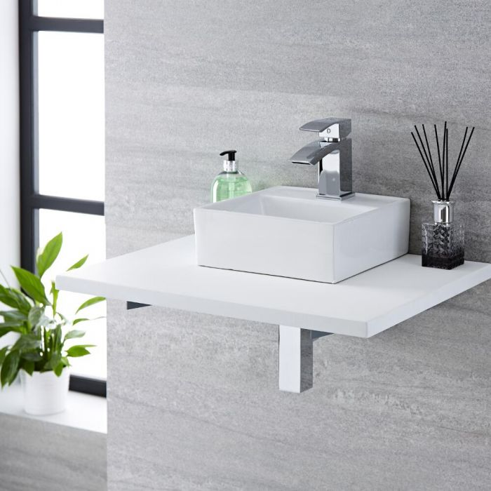 Milano Dalton - White Modern Square Countertop Basin with Mixer Tap - 280mm x 280mm (1 Tap-Hole)