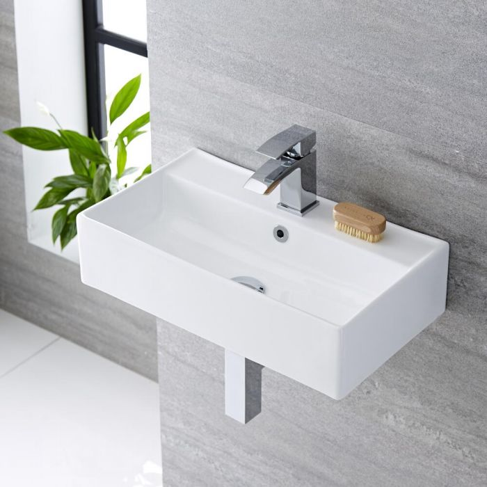 Milano Dalton - White Modern Rectangular Wall Hung Basin - 500mm x 315mm (1 Tap-Hole)