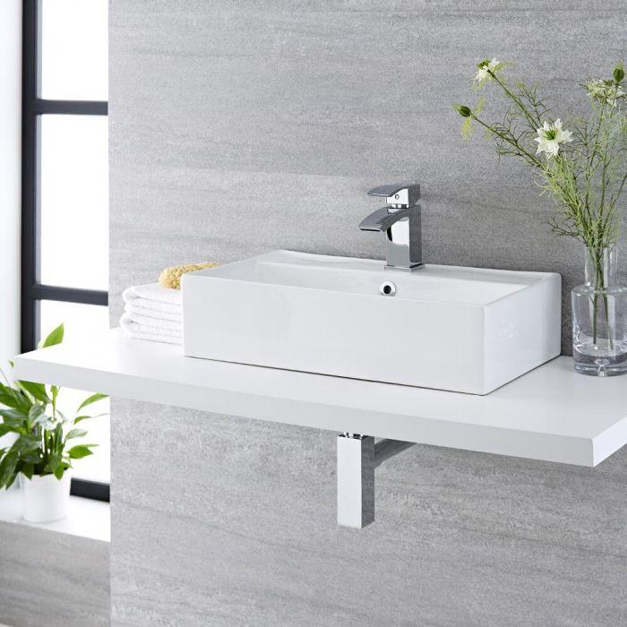 Milano Dalton - White Modern Rectangular Countertop Basin with Mixer Tap - 500mm x 315mm (1 Tap-Hole)