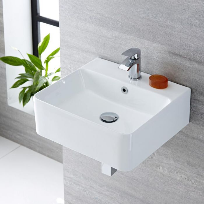 Milano Farington - White Modern Rectangular Wall Hung Basin - 460mm x 420mm (1 Tap-Hole)