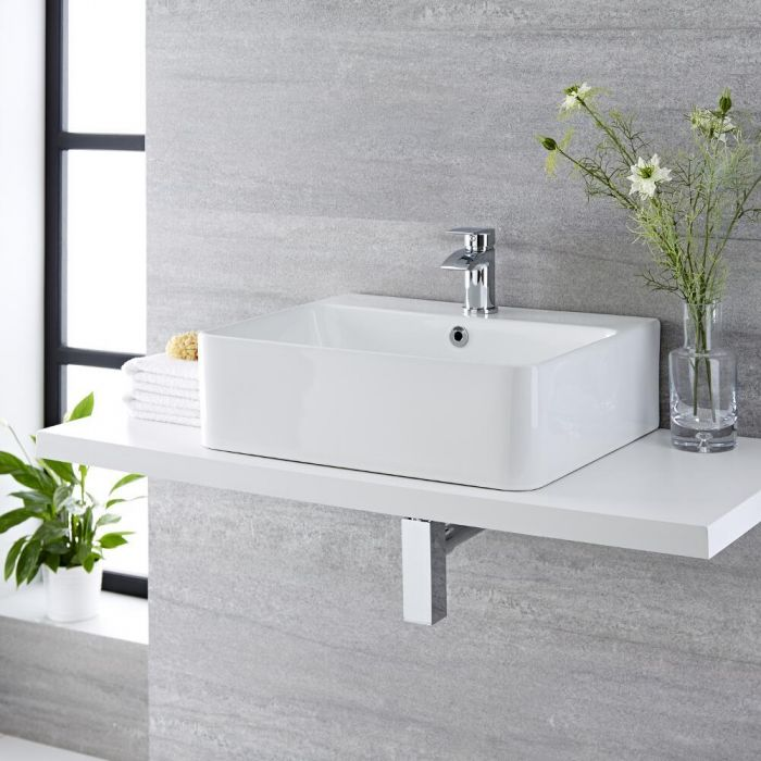 Milano Farrington - White Modern Rectangular Countertop Basin with Deck Mounted Mixer Tap - 520mm x 420mm