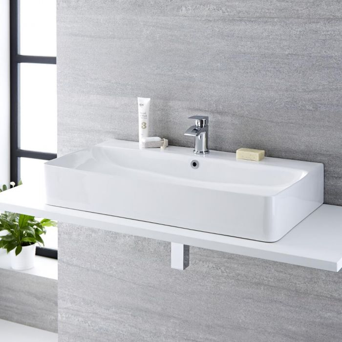 Milano Farington - White Modern Rectangular Countertop Basin with Mixer Tap - 800mm x 415mm (1 Tap-Hole)