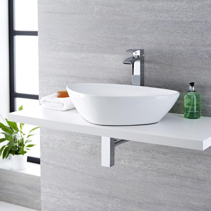 Milano Select - White Modern Round Countertop Basin with Deck Mounted High Rise Mixer Tap - 590mm x 390mm