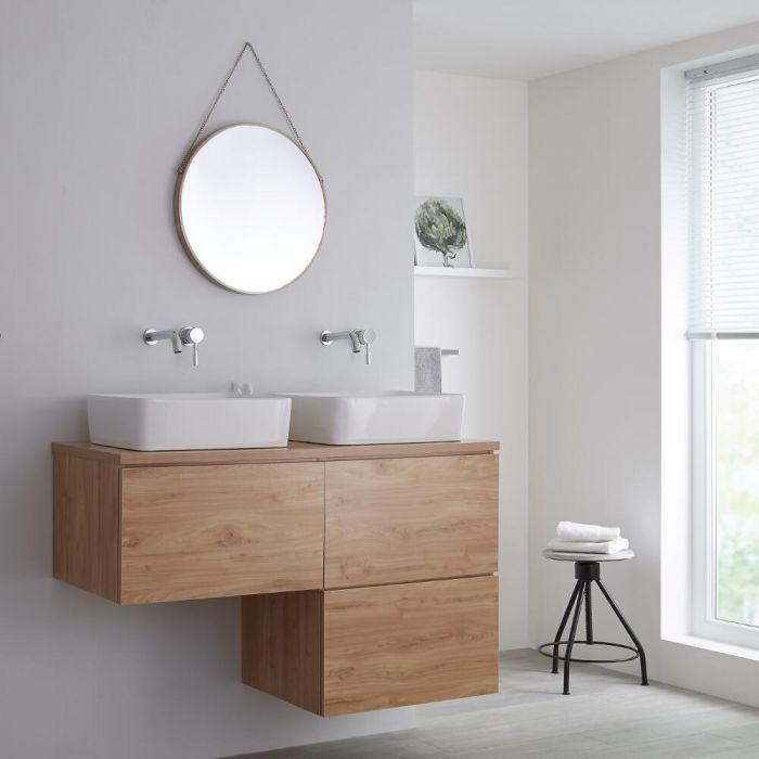 Milano Oxley - L-Shape 1200mm Vanity Unit with Countertop Basins - Golden Oak