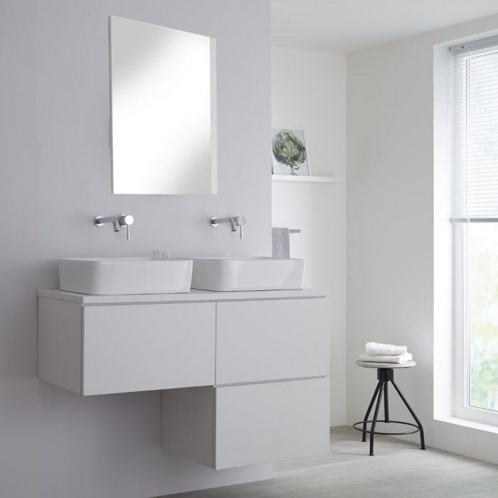 Milano Oxley - Matt White Modern L-Shape 1200mm Vanity Unit with 2 Countertop Basins (No Tap-Holes)