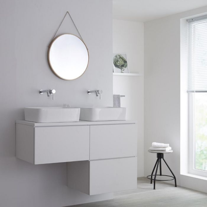 Milano Oxley - L-Shape 1200mm Vanity Unit with Countertop Basins - Matt White