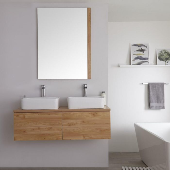 Milano Oxley - Golden Oak Modern Wall Hung Vanity Unit with Countertop Basins - 510mm x 1200mm