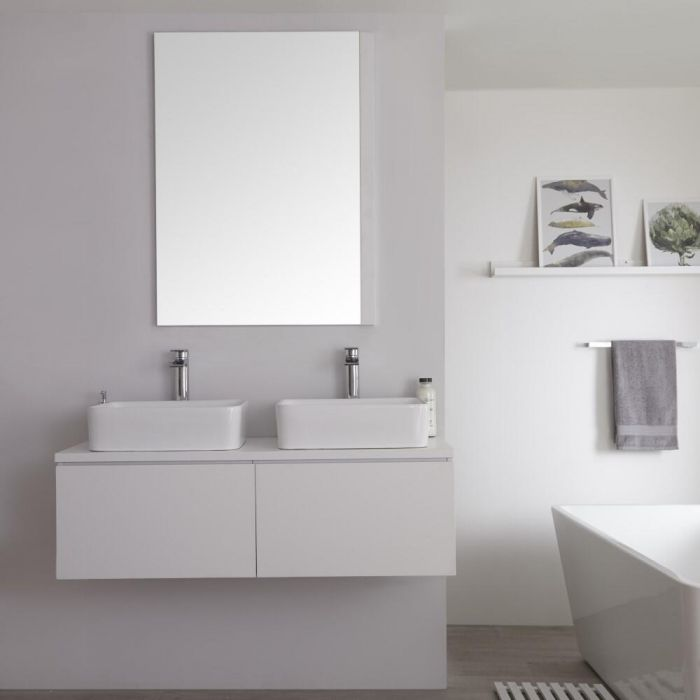 Milano Oxley - Matt White Modern Wall Hung Vanity Unit with Countertop Basins - 510mm x 1200mm