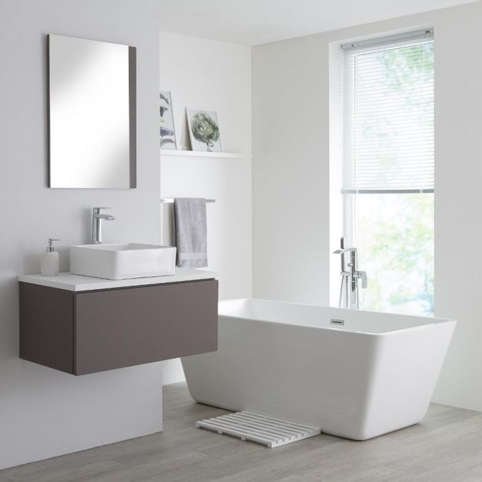 Milano Oxley - Matt Grey and White Modern 800mm Vanity Unit with Top and Countertop Basin (No Tap-Holes)