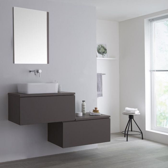 Milano Oxley - Grey 1400mm Wall Hung Stepped Vanity Unit with Countertop Basin