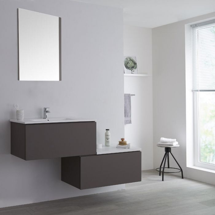 Milano Oxley - Grey 1400mm Wall Hung Stepped Vanity Unit with Basin