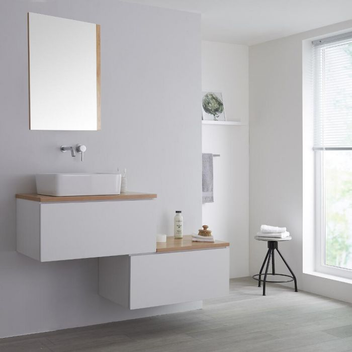 Milano Oxley - White and Golden Oak 1400mm Wall Hung Stepped Vanity Unit with Countertop Basin