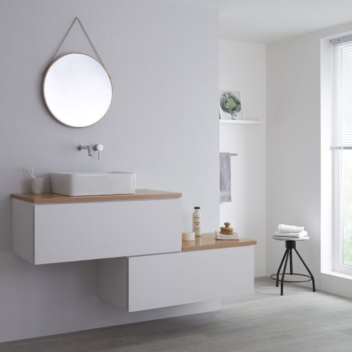 Milano Oxley - 1600mm Stepped Vanity Unit with Countertop Basin - White & Oak