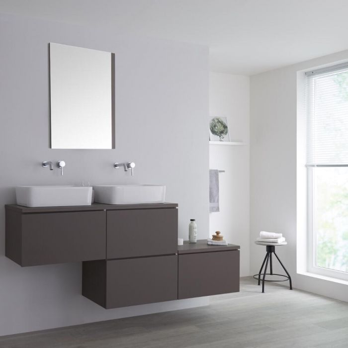 Milano Oxley - Matt Grey 1800mm Stepped Vanity Unit with Countertop Basins (No Tap-Holes)