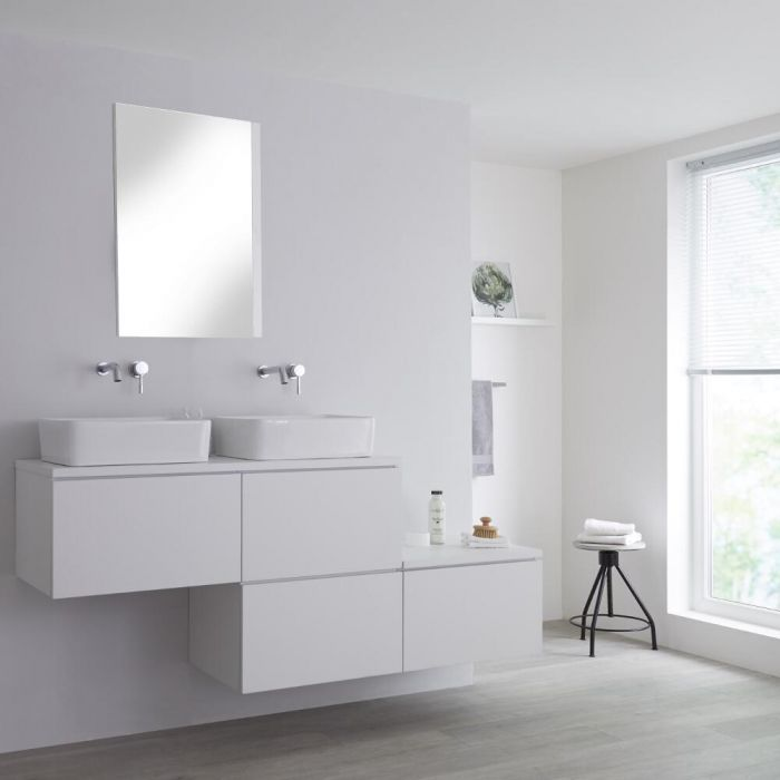 Milano Oxley - White 1800mm Wall Hung Stepped Vanity Unit with Countertop Basins