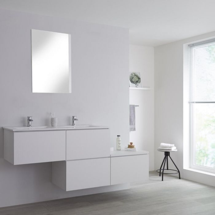 Milano Oxley - White 1800mm Wall Hung Stepped Vanity Unit with Basin