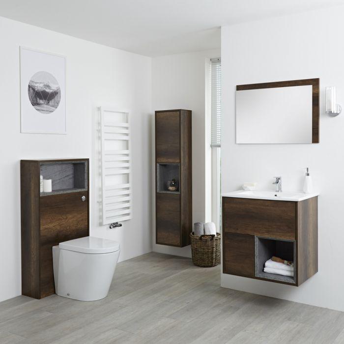 Milano Bexley 600mm Vanity Unit, WC Unit, Pan, 1500mm Storage Unit & Mirror - Dark Oak