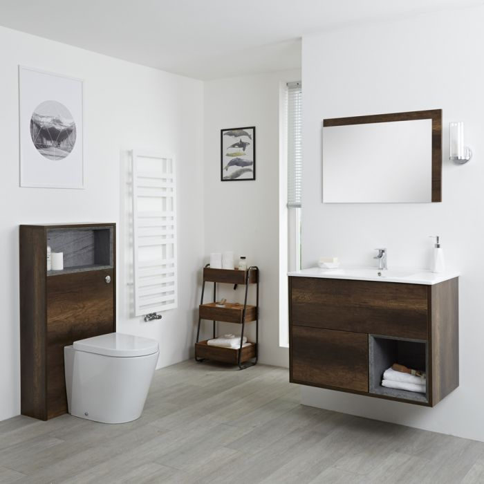 Milano Bexley - Dark Oak Modern 800mm Vanity Unit with WC Unit and Back to Wall Pan