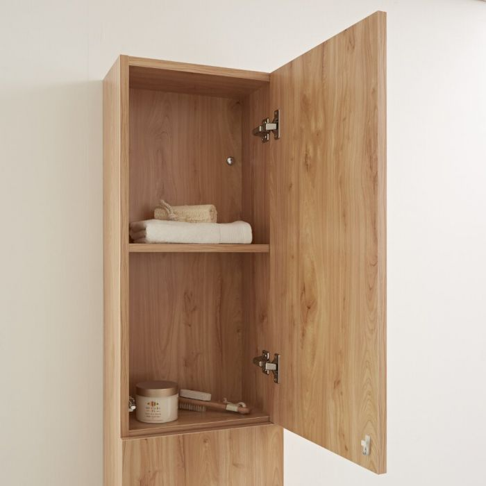Milano Oxley - Golden Oak Modern Wall Hung Closed Storage Unit - 350mm x 1500mm