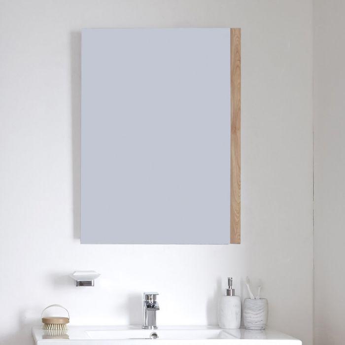 Milano Oxley - Golden Oak Modern Wall Hung Mirror - 700mm x 500mm