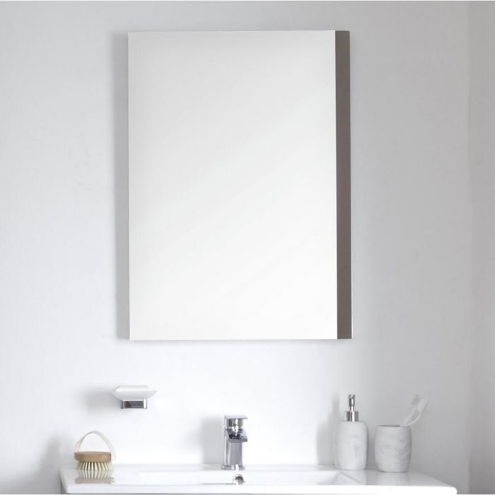 Milano Oxley - Grey Modern Wall Hung Mirror - 700mm x 500mm