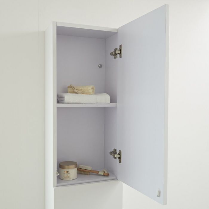 Milano Oxley - Matt White Modern Wall Hung Closed Storage Unit - 350mm x 1500mm