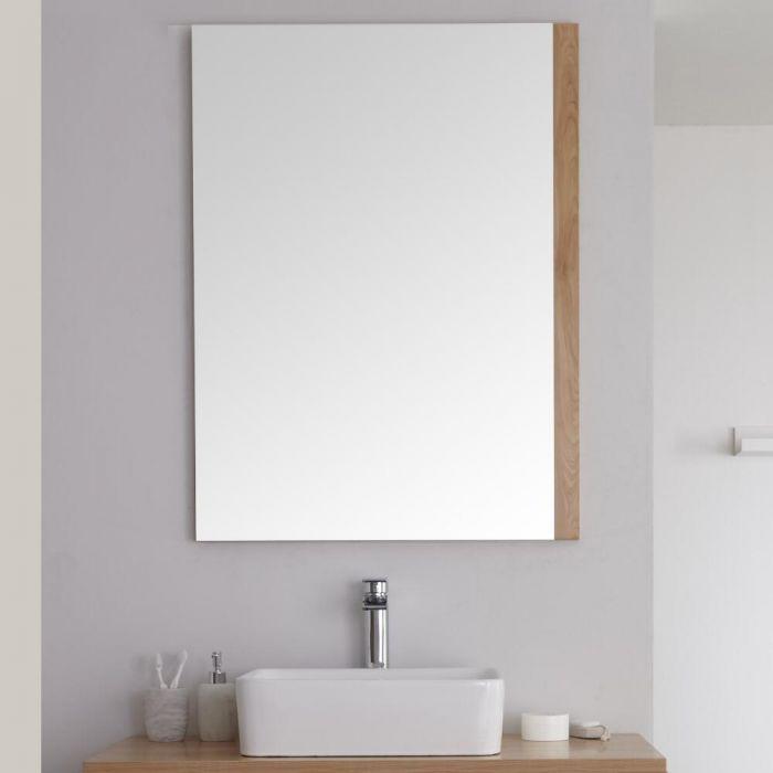 Milano Oxley - Golden Oak Modern Wall Hung Mirror - 1000mm x 750mm