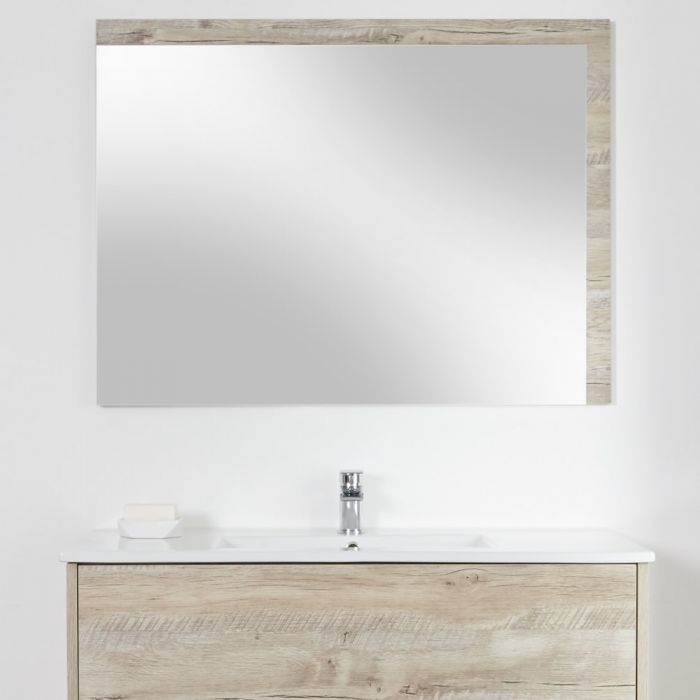 Milano Bexley - Light Oak Modern Wall Hung Mirror - 1000mm x 750mm