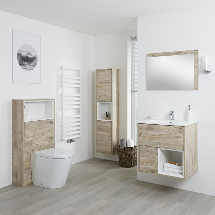 Milano Bexley - Light Oak Modern 600mm Open Shelf Vanity Unit, WC Unit, Pan, Storage Unit and Mirror