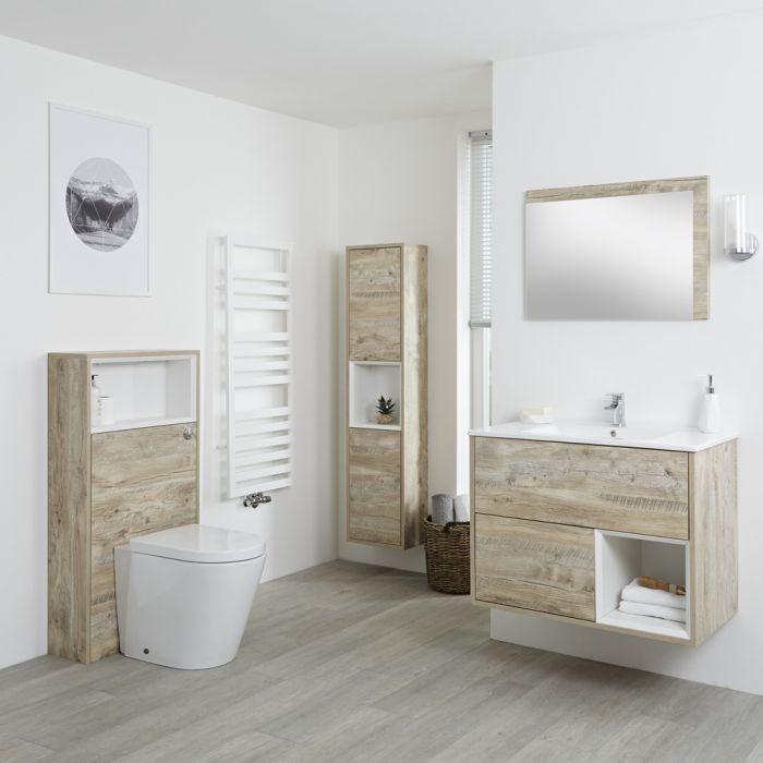 Milano Bexley - Light Oak Modern 800mm Open Shelf Vanity Unit, WC Unit, Pan, Storage Unit and Mirror