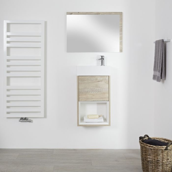 Milano Bexley - Light Oak 400mm Wall Hung Open Shelf Cloakroom Vanity Unit with Countertop Basin