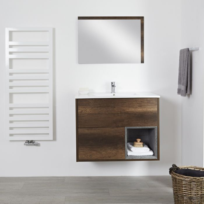 Milano Bexley - Dark Oak 800mm Wall Hung Open Shelf Vanity Unit with Basin