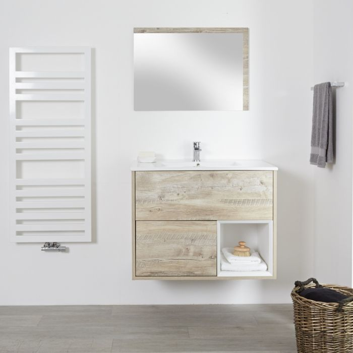 Milano Bexley - Light Oak 800mm Wall Hung Open Shelf Vanity Unit with Basin