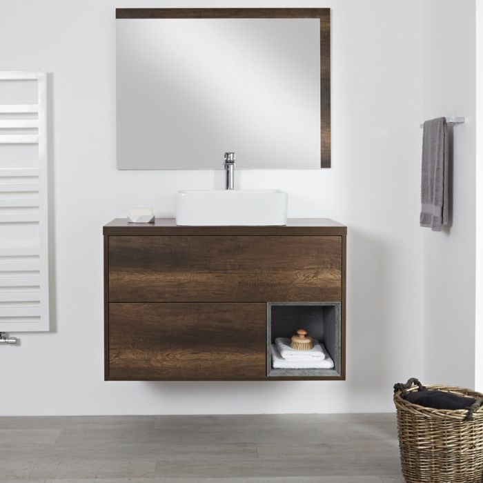 Milano Bexley - Dark Oak 1000mm Wall Hung Open Shelf Vanity Unit with Rectangular Countertop Basin