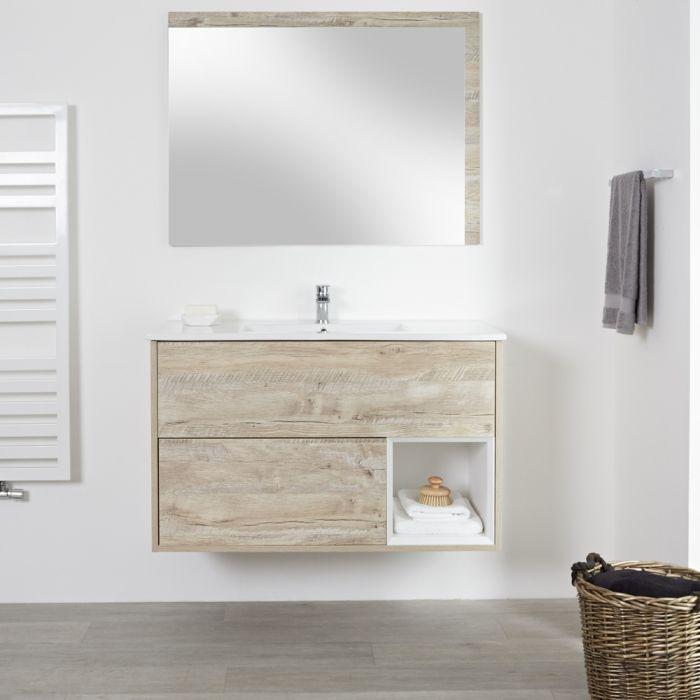 Milano Bexley - Light Oak Modern 1010mm Open Shelf Vanity Unit with Basin (1 Tap-Hole)