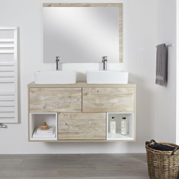 Milano Bexley - Light Oak 1200mm Wall Hung Open Shelf Vanity Unit with RectangularCountertop Basins