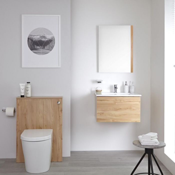 Milano Oxley - Golden Oak Modern 600mm Vanity Unit with Basin, WC Unit, Back to Wall Pan