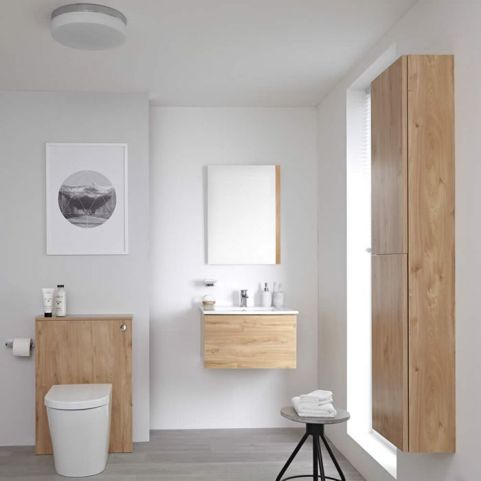 Milano Oxley - Golden Oak Modern 600mm Vanity Unit with Basin, WC Unit, Back to Wall Pan, Storage Unit and Mirror