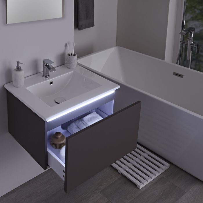 Milano Oxley - Grey 610mm Wall Hung Vanity Unit with Basin