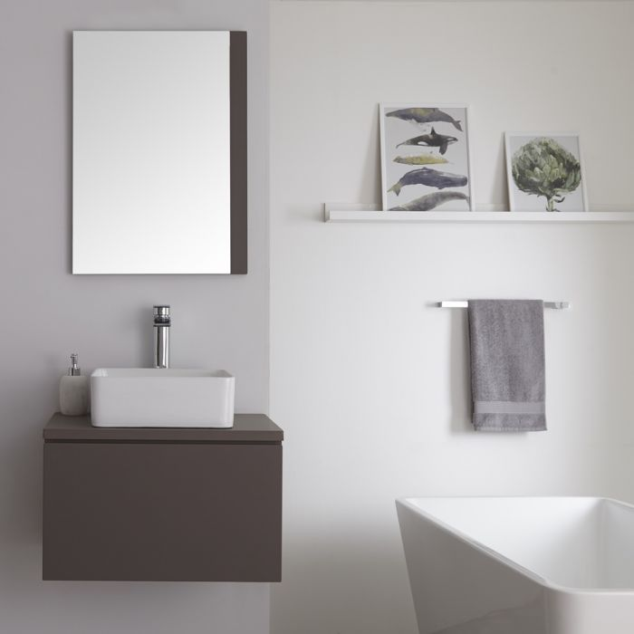 Milano Oxley - Matt Grey Modern Wall Hung Vanity Unit with Square Countertop Basin - 505mm x 600mm