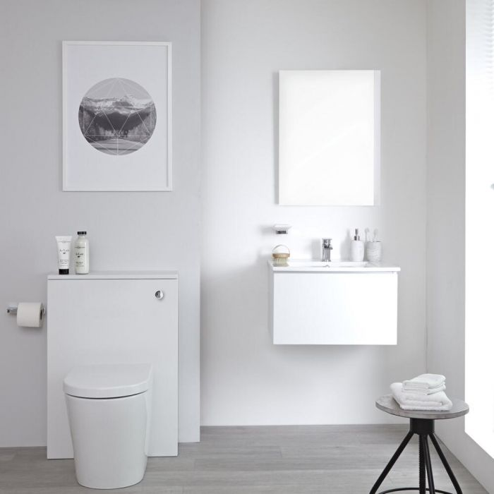 Milano Oxley - Matt White Modern Wall Hung 600mm Vanity Unit with Basin, WC Unit and Back to Wall Pan